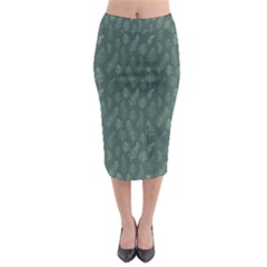Whimsical Feather Pattern, Forest Green Midi Pencil Skirt