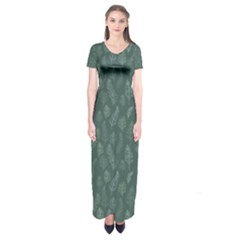 Whimsical Feather Pattern, Forest Green Short Sleeve Maxi Dress