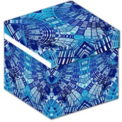 Blue Mirror Abstract Geometric Storage Stool 12