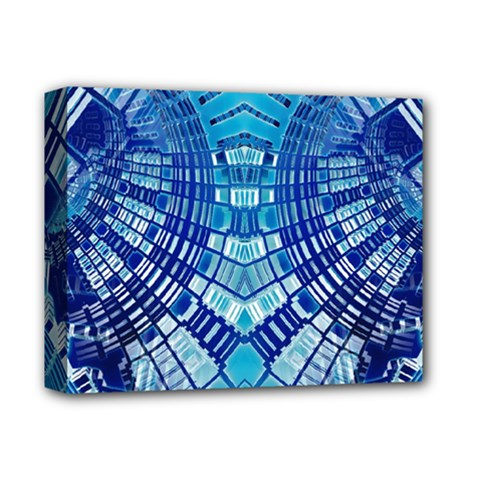 Blue Mirror Abstract Geometric Deluxe Canvas 14  x 11