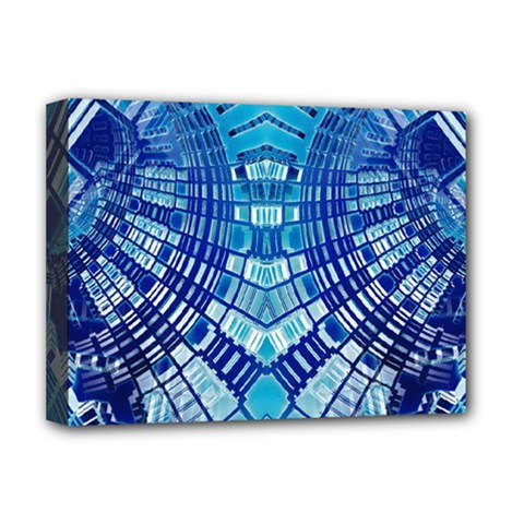 Blue Mirror Abstract Geometric Deluxe Canvas 16  x 12