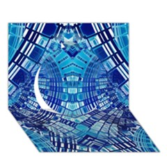 Blue Mirror Abstract Geometric Circle 3D Greeting Card (7x5)