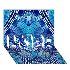 Blue Mirror Abstract Geometric HOPE 3D Greeting Card (7x5)