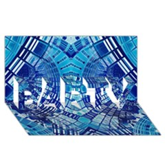 Blue Mirror Abstract Geometric PARTY 3D Greeting Card (8x4)