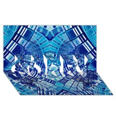 Blue Mirror Abstract Geometric SORRY 3D Greeting Card (8x4)