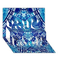 Blue Mirror Abstract Geometric You Rock 3D Greeting Card (7x5)