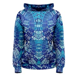 Blue Mirror Abstract Geometric Women s Pullover Hoodie
