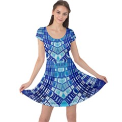 Blue Mirror Abstract Geometric Cap Sleeve Dresses