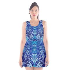 Blue Mirror Abstract Geometric Scoop Neck Skater Dress