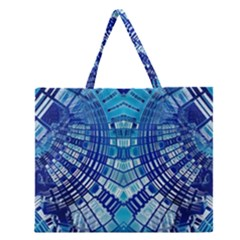 Blue Mirror Abstract Geometric Zipper Large Tote Bag