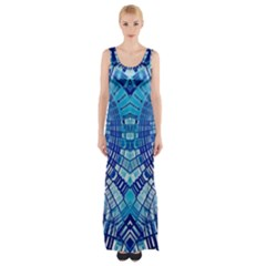 Blue Mirror Abstract Geometric Maxi Thigh Split Dress
