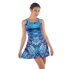Blue Mirror Abstract Geometric Racerback Dresses