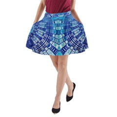 Blue Mirror Abstract Geometric A-Line Pocket Skirt