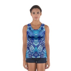 Blue Mirror Abstract Geometric Tops