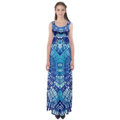 Blue Mirror Abstract Geometric Empire Waist Maxi Dress