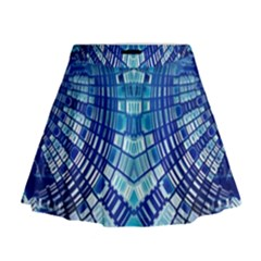 Blue Mirror Abstract Geometric Mini Flare Skirt