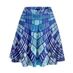 Blue Mirror Abstract Geometric High Waist Skirt