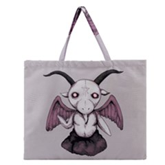 Plushie Baphomet Zipper Large Tote Bag