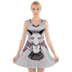 Plushie Baphomet V-Neck Sleeveless Skater Dress