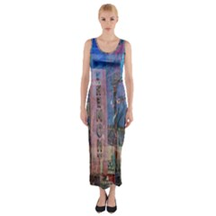 Las Vegas Strip Walking Tour Fitted Maxi Dress