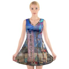 Las Vegas Strip Walking Tour V Neck Sleeveless Skater Dress