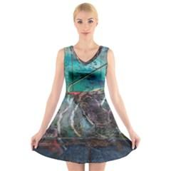 Vegas The Deep End  V-Neck Sleeveless Skater Dress