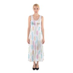 Whimsical Feather Pattern,fresh Colors, Sleeveless Maxi Dress