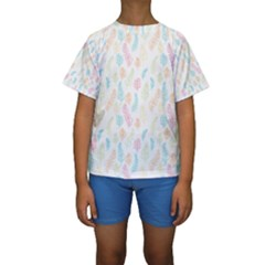 Whimsical Feather Pattern,fresh Colors, Kid s Short Sleeve Swimwear