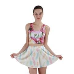 Whimsical Feather Pattern,fresh Colors, Mini Skirt
