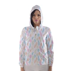 Whimsical Feather Pattern,fresh Colors, Hooded Wind Breaker (Women)