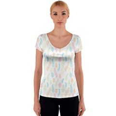 Whimsical Feather Pattern,fresh Colors, Women s V-Neck Cap Sleeve Top