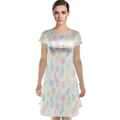 Whimsical Feather Pattern,fresh Colors, Cap Sleeve Nightdress