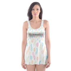 Whimsical Feather Pattern,fresh Colors, Skater Dress Swimsuit
