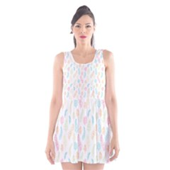 Whimsical Feather Pattern,fresh Colors, Scoop Neck Skater Dress