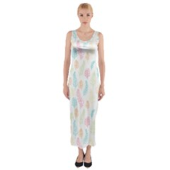 Whimsical Feather Pattern,fresh Colors, Fitted Maxi Dress