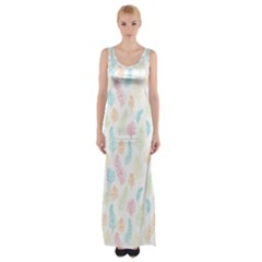 Whimsical Feather Pattern,fresh Colors, Maxi Thigh Split Dress