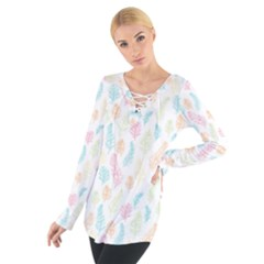 Whimsical Feather Pattern,fresh Colors, Women s Tie Up Tee