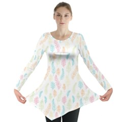 Whimsical Feather Pattern,fresh Colors, Long Sleeve Tunic
