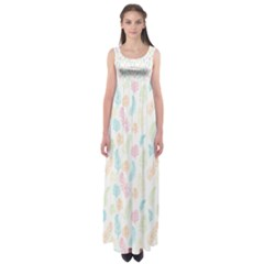 Whimsical Feather Pattern,fresh Colors, Empire Waist Maxi Dress