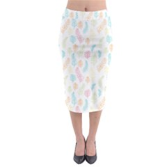 Whimsical Feather Pattern,fresh Colors, Midi Pencil Skirt