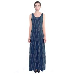Whimsical Feather Pattern, Midnight Blue, Sleeveless Maxi Dress