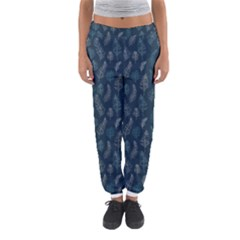 Whimsical Feather Pattern, Midnight Blue, Women s Jogger Sweatpants