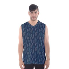 Whimsical Feather Pattern, Midnight Blue, Men s Basketball Tank Top