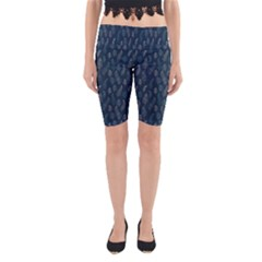 Whimsical Feather Pattern, Midnight Blue, Yoga Cropped Leggings