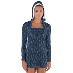 Whimsical Feather Pattern, Midnight Blue, Women s Long Sleeve Hooded T-shirt