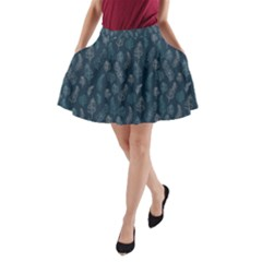 Whimsical Feather Pattern, Midnight Blue, A Line Pocket Skirt