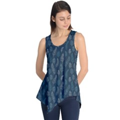 Whimsical Feather Pattern, Midnight Blue, Sleeveless Tunic