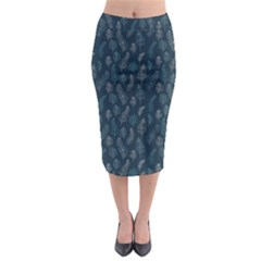 Whimsical Feather Pattern, Midnight Blue, Midi Pencil Skirt