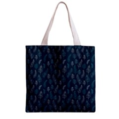 Whimsical Feather Pattern, Midnight Blue, Zipper Grocery Tote Bag