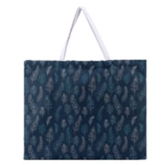 Whimsical Feather Pattern, Midnight Blue, Zipper Large Tote Bag
